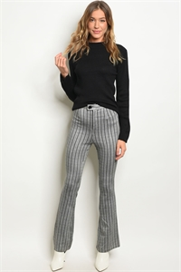 S12-1-5-P2232 GRAY BLACK STRIPES PANTS 3-2-1
