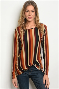 C39-B-2-T11245 BURGUNDY MULTI STRIPES TOP 2-2-2