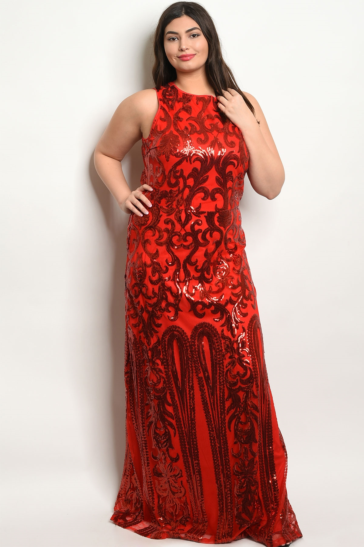 85d7b4cfdb ... RED WITH SEQUINS PLUS SIZE DRESS 2-2. Larger Photo ...