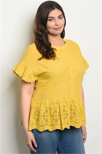 S20-7-4-T59312X MUSTARD PLUS SIZE TOP 2-2-2