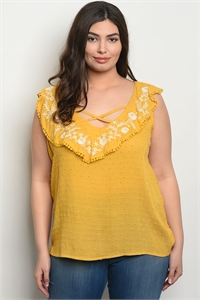 S9-20-2-T10139X MUSTARD WHITE PLUS SIZE TOP 2-2-2