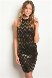 S20-3-2-D6170 BLACK GOLD W/ SEQUINS DRESS 2-2-2