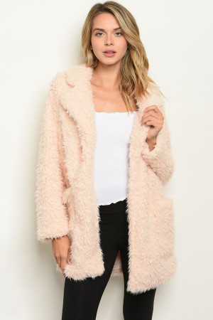S20-7-1-J20250 BLUSH SHAGGY FAUX FUR COAT 2-2-2