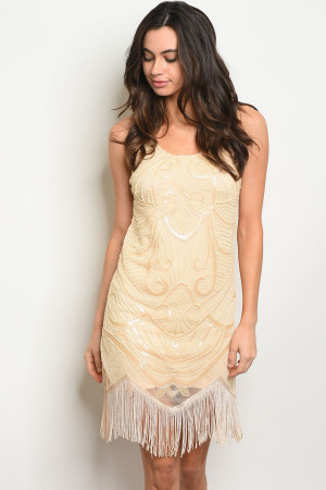 S12-4-5-D5200 BEIGE LACE DRESS 2-2-2