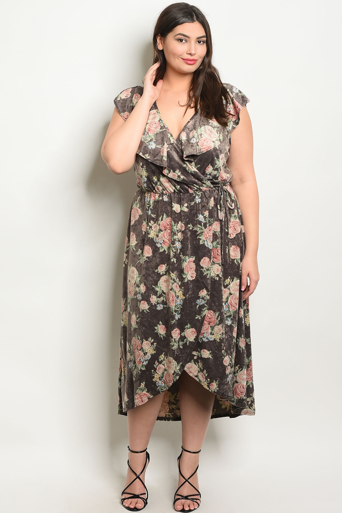 5794f27bb47 C62-A-2-D16012X GRAY FLORAL PLUS SIZE DRESS 2-2-2