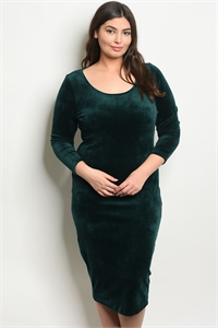 C84-A-2-D11138X HUNTER GREEN PLUS SIZE DRESS 2-2-2