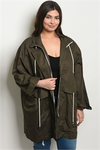 C81-A-3-J123X OLIVE PLUS SIZE JACKET / 6PCS