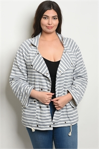 S10-17-1-J9061X GRAY IVORY STRIPES PLUS SIZE JACKET 2-2-2