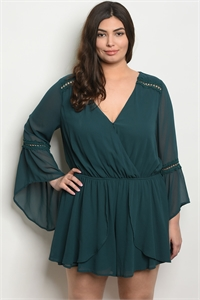S17-10-3-R22828X GREEN PLUS SIZE ROMPER 3-2-2