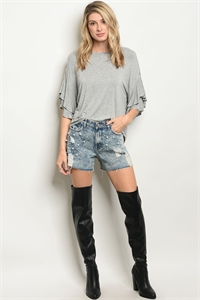S12-8-1-S80147 BLUE DENIM WITH PEARLS SHORTS 2-2-2