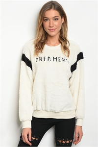 S21-3-4-S13129 IVORY BLACK WITH DREAMER PRINT SWEATER 3-2-1