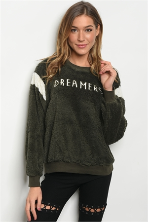 S21-3-4-S13129 OLIVE WITH DREAMER PRINT SWEATER 3-2-1