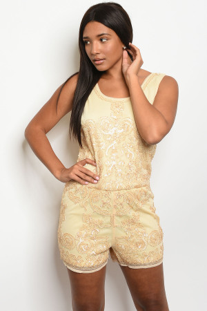 S3-4-1-R768997 BEIGE SEQUINS ROMPER 2-2-2  ***WARNING: California Proposition 65***