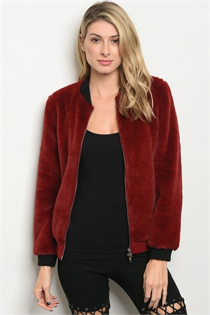 S4-3-2-NA-J0108 RED FAUX FUR BOMBER JACKET 1-2-2-1
