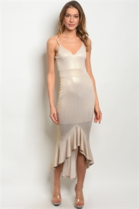 C37-A-2-D2410 BEIGE GOLD DRESS 2-2-2