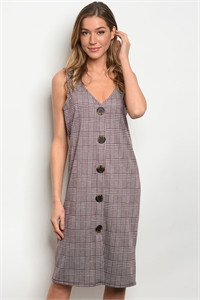 C24-A-2-D3839071 WINE OFF WHITE CHECKERS DRESS 2-2-2-1