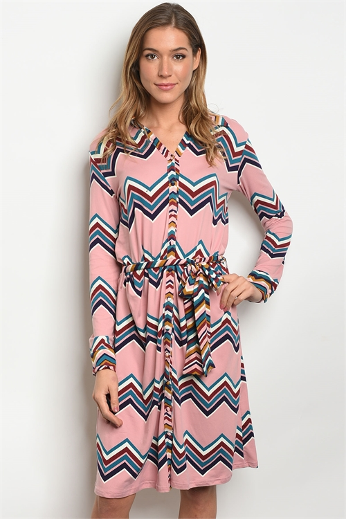 S12-3-2-D1597 PINK MULTY DRESS 2-2-2