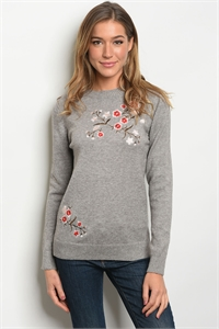 S21-6-5-S1658 GREY W/ FLOWERS EMBROIDERY SWEATER 2-2-2