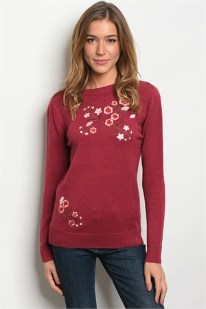 S21-6-5-S1658 BURGUNDY W/ FLOWERS EMBROIDERY SWEATER 2-2-2