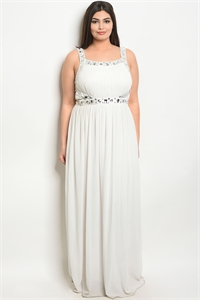 S12-11-1-D20678X OFF WHITE WITH STONE PLUS SIZE DRESS 2-2-2