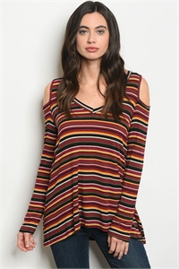 C88-B-5-T6896 BURGUNDY MULTI STRIPES TOP 2-2-2