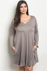 C83-A-4-D9677X MOCHA PLUS SIZE DRESS 3-2-1