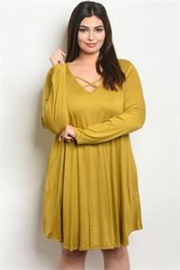 C77-A-2-D9677X MUSTARD PLUS SIZE DRESS 3-2-1
