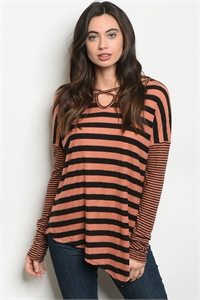 C52-B-6-T2393 EARTH BLACK STRIPES TOP 2-2-2