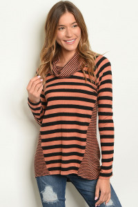 C55-B-1-T2397 EARTH BLACK STRIPES TOP 3-3