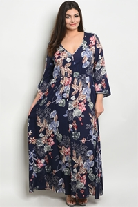 S9-20-2-D16644X NAVY FLORAL PLUS SIZE DRESS 3-2-1