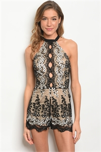 S12-10-4-R0012 BLACK NUDE EMBROIDERY ROMPER 3-2-1