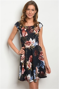 C22-A-5-D127781 NAVY GOLD FLORAL DRESS 2-2-2
