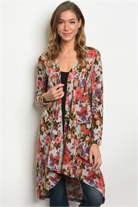 C78-A-7-C77442 TAUPE FLORAL CARDIGAN 2-2-2