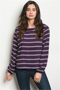 C93-B-6-T22873 PURPLE WHITE STRIPES TOP 2-2-2
