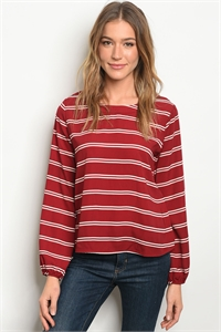 C94-B-1-T22873 BURGUNDY WHITE STRIPES TOP 2-2