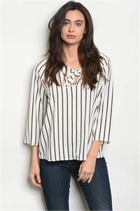 C67-B-4-T61333 WHITE BLACK STRIPES TOP 2-2-2