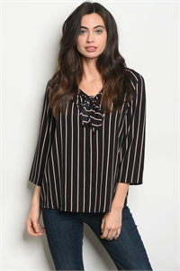C76-B-1-T61333 BLACK BURGUNDY STRIPES TOP 1-2-1