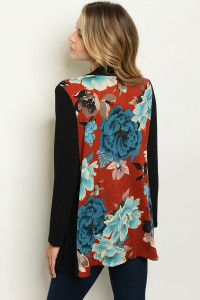 C65-B-3-C7272 BLACK EARTH FLORAL CARDIGAN 2-2-2