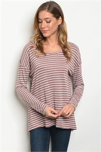 C53-B-2-T61183 MAUVE WHITE STRIPES TOP 2-2-2