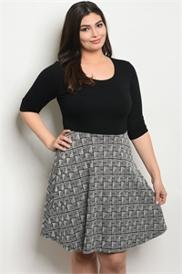 C5-A-3-D9427X BLACK IVORY PLUS SIZE DRESS 2-2-1