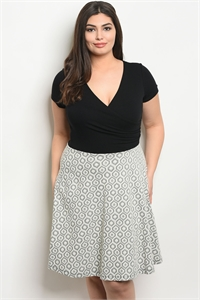 C14-A-6-D7453X BLACK IVORY PLUS SIZE DRESS 2-2-1