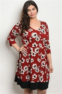 C16-A-6-D12760X BURGUNDY FLORAL PLUS SIZE DRESS 1-2-2-1