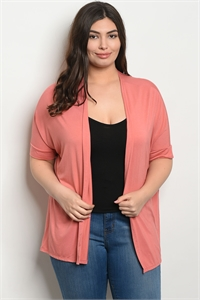 C34-A-2-C7824X SALMON PLUS SIZE CARDIGAN 2-2-2
