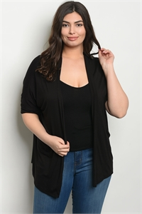 C35-A-1-C7824X BLACK PLUS SIZE CARDIGAN 1-2