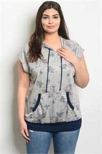 C42-A-2-T8015X GRAY NAVY PLUS SIZE TOP 2-2-2