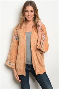 S12-11-4-S121287 MUSTARD WITH FLOWER EMBROIDERY SWEATER 2-2-2
