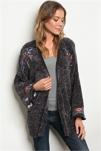 S12-11-3-S121287 CHARCOAL WITH FLOWER EMBROIDERY SWEATER 2-2-2