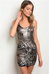 S21-2-2-D8549 BLACK MULTI WITH SEQUINS DRESS 3-3-2