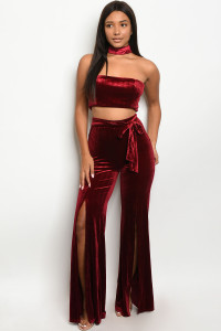 S21-2-1-SET6340 BURGUNDY CROP TOP & PANTS SET 2-2-2