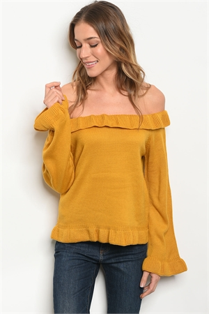 S13-12-3-T121478 MUSTARD OFF SHOULDER SWEATER 2-2-2